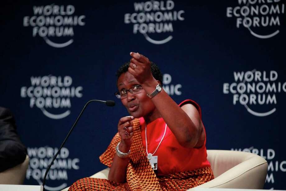 Oxfam's Winnie Byanyima speaks last year during the World Economic Forum on Africa in Abuja, Nigeria. Photo: Sunday Alamba / Associated Press / AP