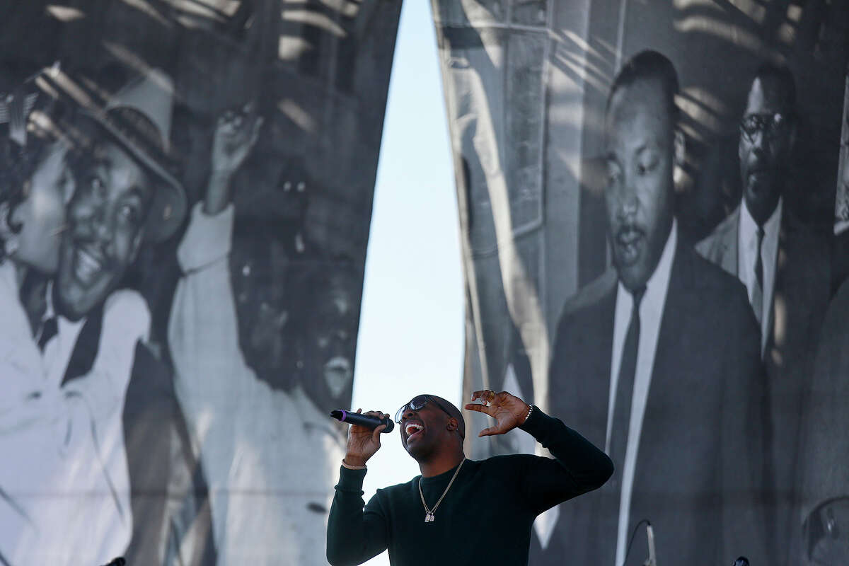 Gospel singer Isaac Carree sings during the commemorative program at Pittman-Sullivan Park after the Martin Luther King Jr. Day March on Monday, Jan. 18, 2016.