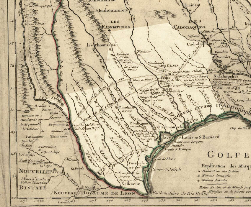 A 1718 map shows the Spanish colony of Texas, including various Native American villages and nations.Source: David Rumsey Map Collection