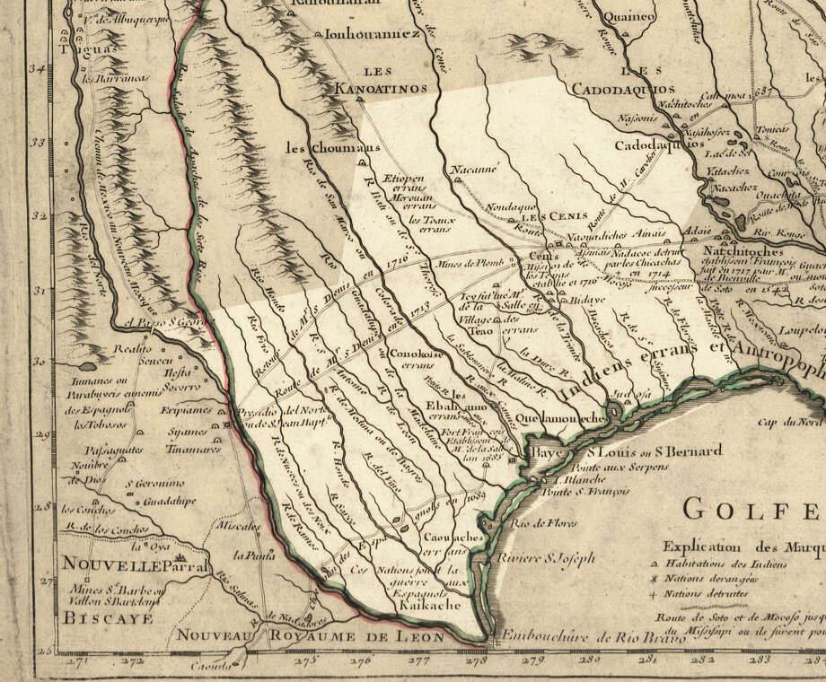 A 1718 map shows the Spanish colony of Texas, including various Native American villages and nations.Source: David Rumsey Map Collection Photo: Guillaume De L'Isle, Library Of Congress
