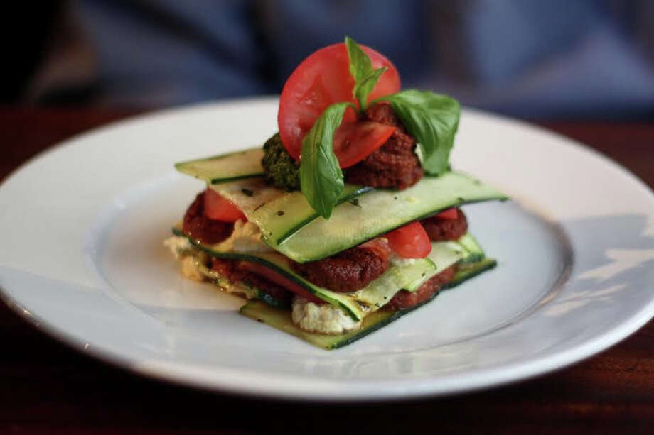 One Lucky Duck's Heirloom tomato and Zucchini Lasagna. Photo: Courtesy One Lucky Duck
