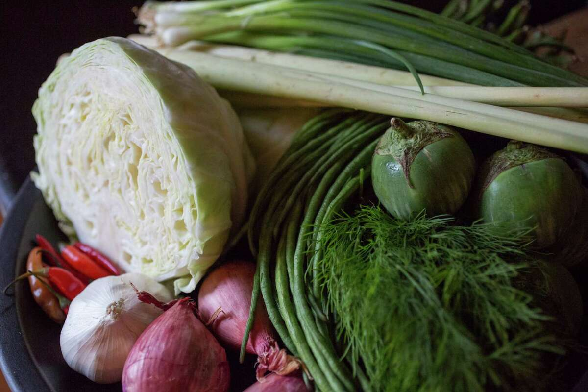 Some of the ingredients chef James Syhabout uses for his home-style chicken stew.