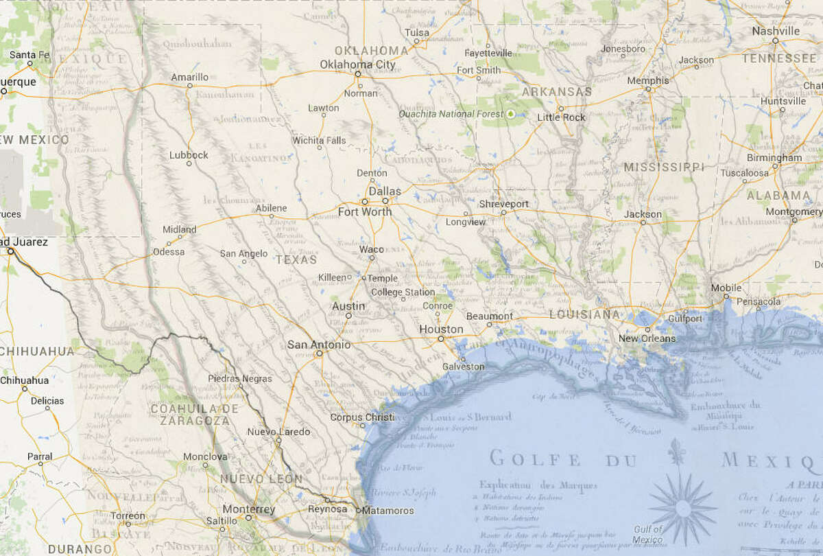 Overlapping the 1718 map with a satellite view of Texas today.Source: David Rumsey Map Collection