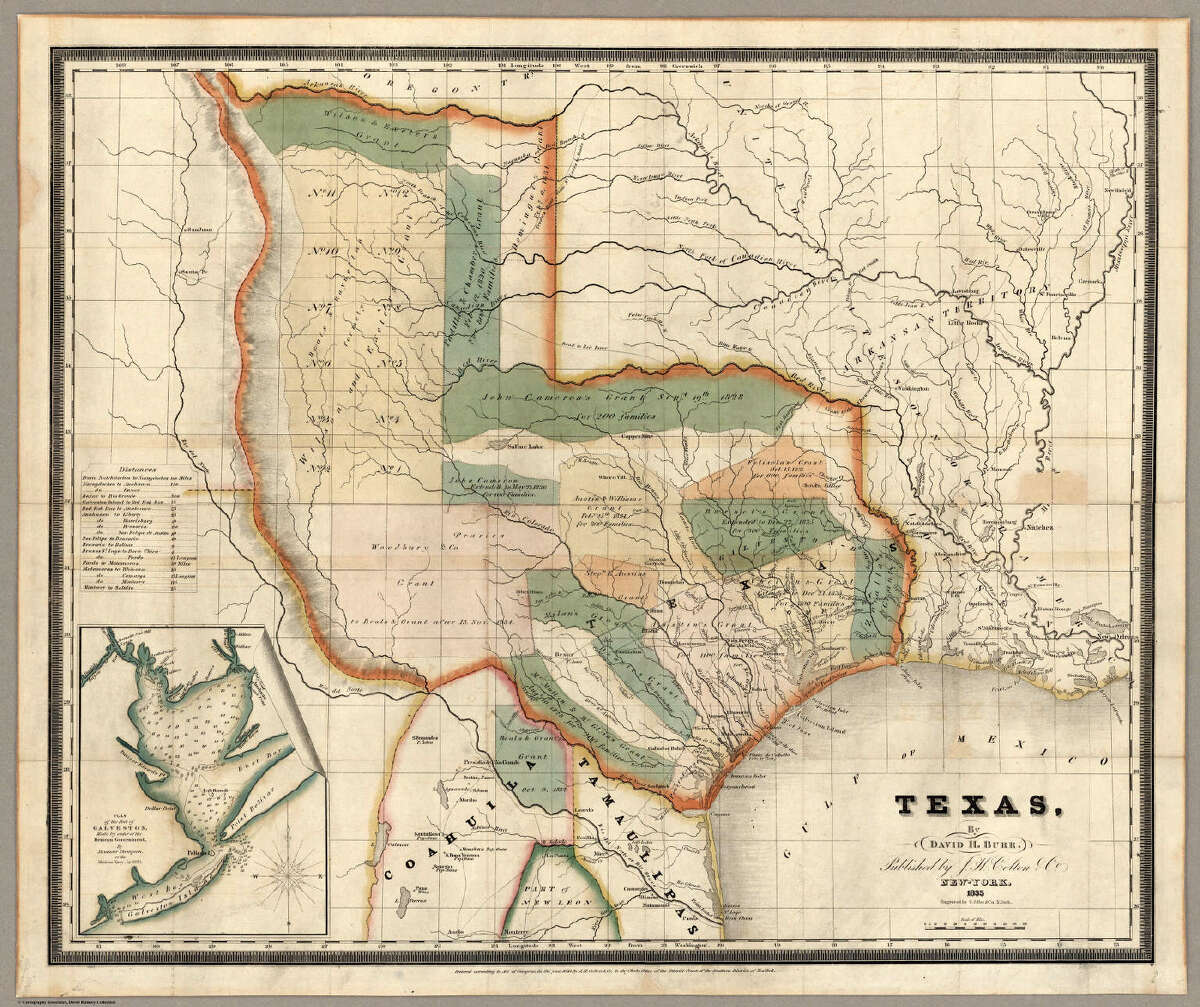 An 1835 edition of David H. Burr's map of Texas shows the borders of the region had expanded north of the Arkansas River. This edition was released on the same year as the Battle of Gonzales, the start of the Texas Revolution.Source: David Rumsey Map Collection