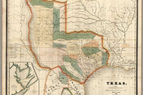 """This is the third edition of this scarce and important map of Texas. The first edition was issued in 1833 and the second edition in 1834. Streeter also lists an 1845 edition with the title changed to """"The State of Texas."""" This copy was Streeter's copy with his notes on the inside front cover. The brown cloth covers 13.5x8 have """"Burr's Map Of The State of Coha. & Texas Published By J.H. Colton & Co. New York"""" stamped in gilt. Full color. Streeter refers to this map as """"the first large scale map of Texas... to show all of Texas to the Arkansas River"""" and states that """"The Burr map, like the Austin Map, is one of the landmarks of Texas cartography..."""" The detail on the land grants is the best for its time. The 1833 issue shows a smaller Texas extending west to the 103rd meridian, whereas the 1834 and 1835 issues show a much expanded Texas extending west to about the 106th meridian and north to the Arkansas River. There is an inset map of Galveston Bay that Streeter refers to in his penciled notes on the inside cover as """"1st detailed printed chart of Galveston Bay?"""" Above the inset map is a table of Distances. Yale has an 1835 edition that was issued earlier in the year than this copy - it does not show Milan's Grant in place of Beal's Grant and it does not list the four new towns that appear on our 1835 edition: Columbia, Electa, Mina and Augusta. Taliaferro 247 (illustrated) appears to be the same as Yale's copy."""