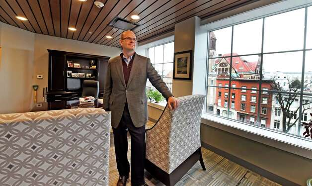 Anders Tomson, bank president, stands in his office at the new Capital Bank building Monday morning, Jan. 19, 2015, at 132 State Street in Albany, N.Y.     (Skip Dickstein/Times Union) Photo: SKIP DICKSTEIN / 00030253A