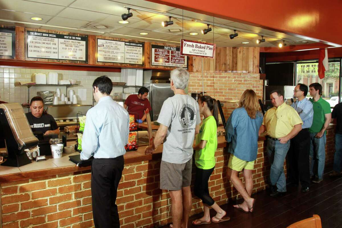 Customers lined up to put in orders at The Brisket House in west Houston.
