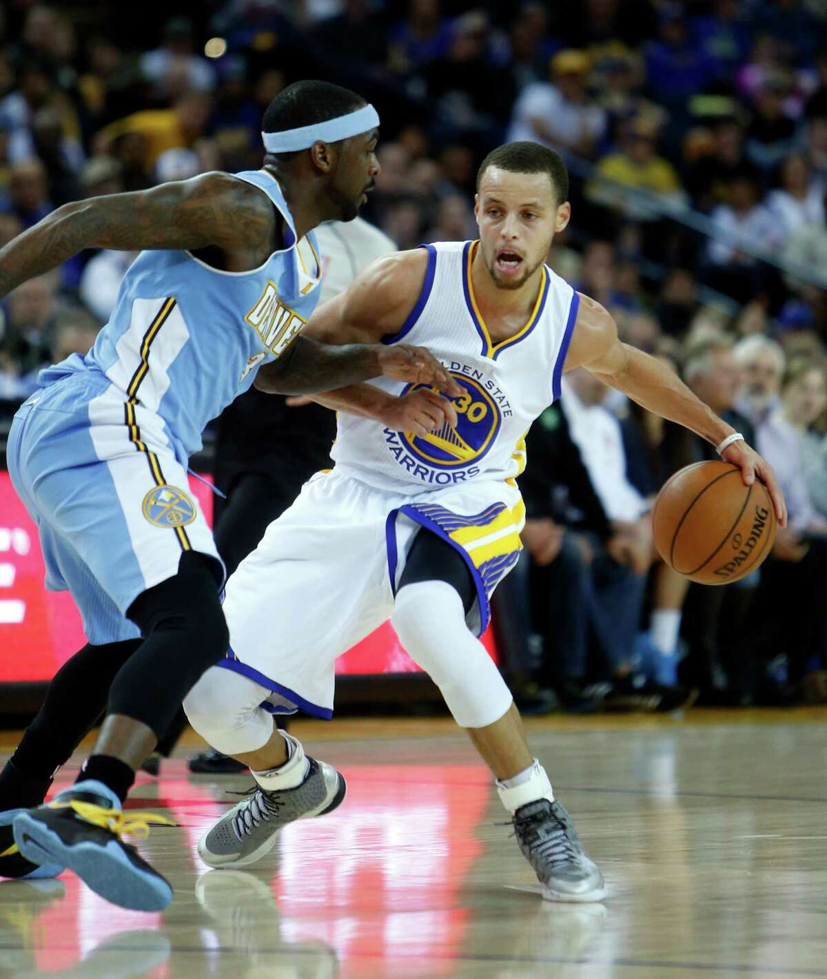 Stephen Curry had more blocks (two) than turnovers (one) against Denver.