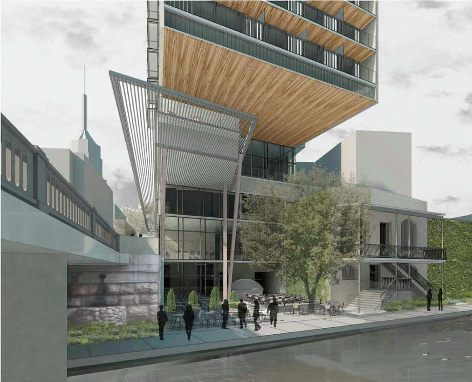 Esquire Tavern owner Chris Hill wants to build an 18-story hotel at the corner of St. Mary's and Commerce streets -- one that would contain 197 rooms, total 114,767 square feet, and offer 7,600 square feet of restaurant and retail space. Designed by Lake | Flato Architects, the hotel would be built on top of the structure known as the Fish Market. However, plans call for the structure between the former market and the Esquire to be razed. Both structures are local landmarks but have been vacant for decades. Photo: Illustration Courtesy Of Lake|Flato Architects