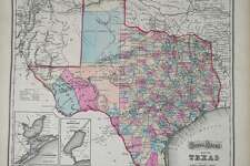 Folded map. Counties tinted in color. Insets of the Texas Panhandle, Plan of Galveston bay, and Plan of Sabine Lake. Relief shown by hachures. Full page advertisements interspersed throughout the atlas with an Index to Advertisements bound in the front.