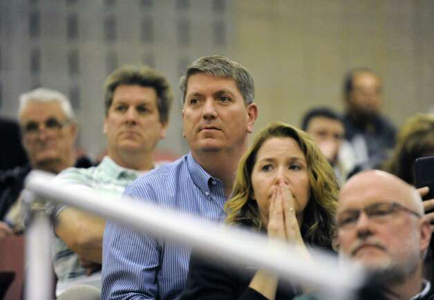 Tom Huerter, center, the former Siena player and broadcaster, watches his sons Thomas and Kevin Huerter play for Shenendehowa during their boy's high school game against Guilderland on Tuesday Jan. 21, 2014 in Guilderland, N.Y.  (Michael P. Farrell/Times Union) Photo: Michael P. Farrell / 00025441A