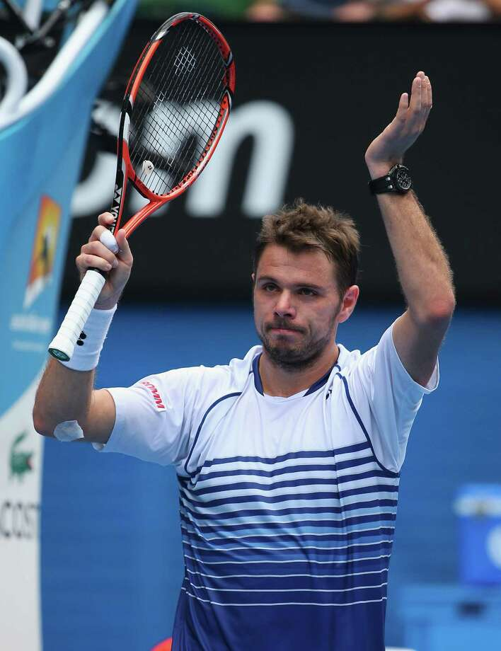 Stan Wawrinka celebrates after a first-round win over Marsel Ilhan in Melbourne. Photo: Quinn Rooney / Getty Images / 2015 Getty Images