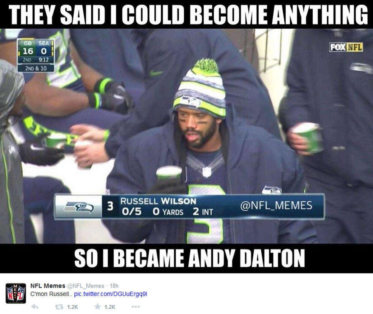 January 18, 2015 Green Bay Packers @ Seattle Seahawks, Score: 22-28 Photo by @NFL_Memes