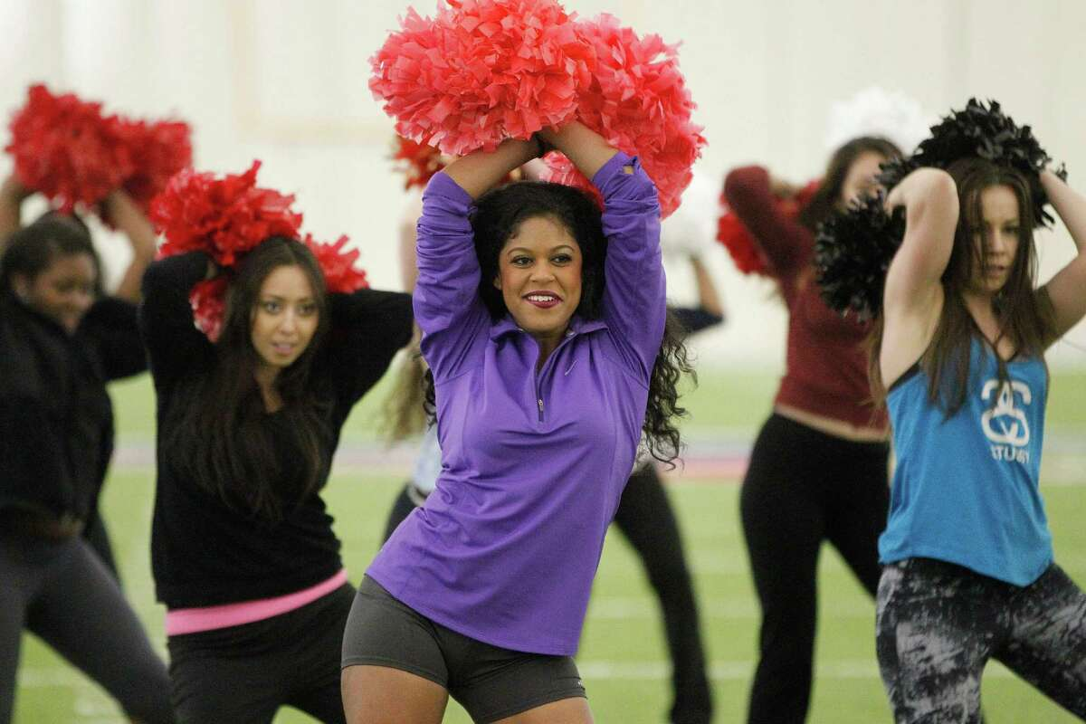 The twists, kicks and hip swings by cheerleaders will get anyone in shape.