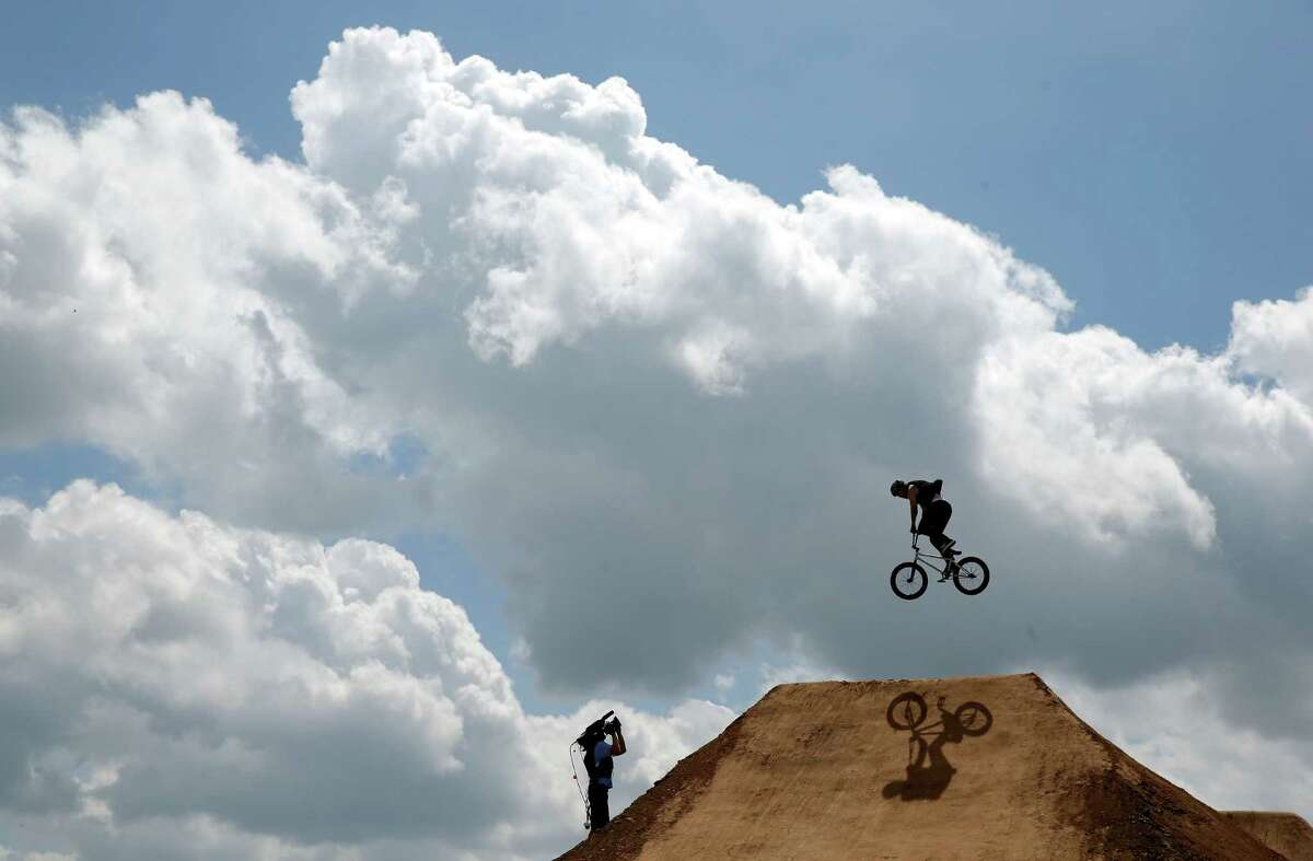 AUSTIN, TX - JUNE 07: Pat Casey competes in round one of the BMX Dirt competition during the X Games Austin at Circuit of The Americas on June 7, 2014 in Austin, Texas.