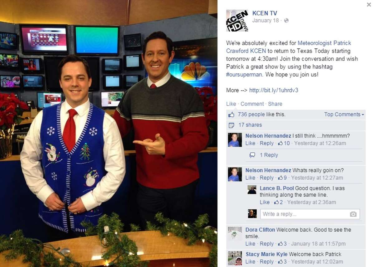 Meteorologist Patrick Crawford returned to work on Monday after being shot last month outside his TV station in Temple.