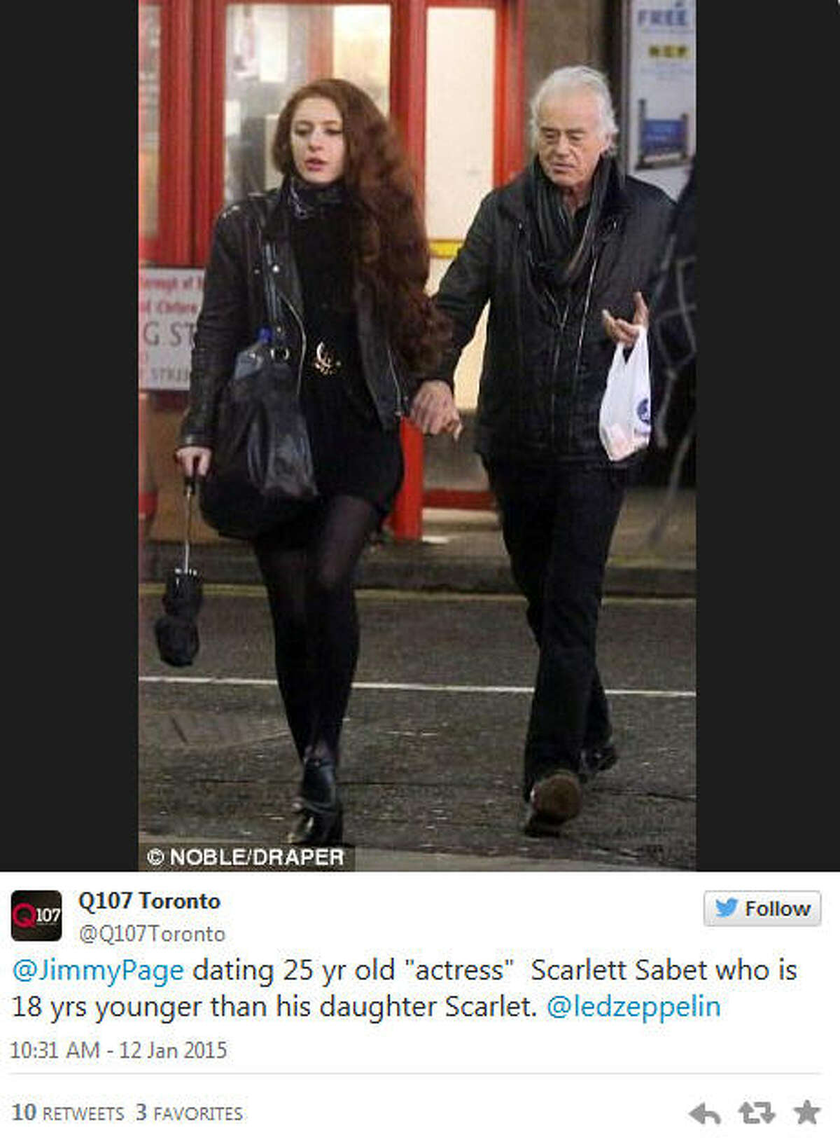 Led Zeppelin's former guitarist Jimmy Page was spotted hand-in-hand with a new lady friend, but that's not what's leaving fans dazed and confused. The woman in question is a 25-year-old actress named Scarlett Sabet, who is 46 years younger than the 71-year-old rock god. To go next-level with this, Page's latest girlfriend is 18 years younger than his daughter who shares the same name (well, almost. His daughter's name is Scarlet, with one