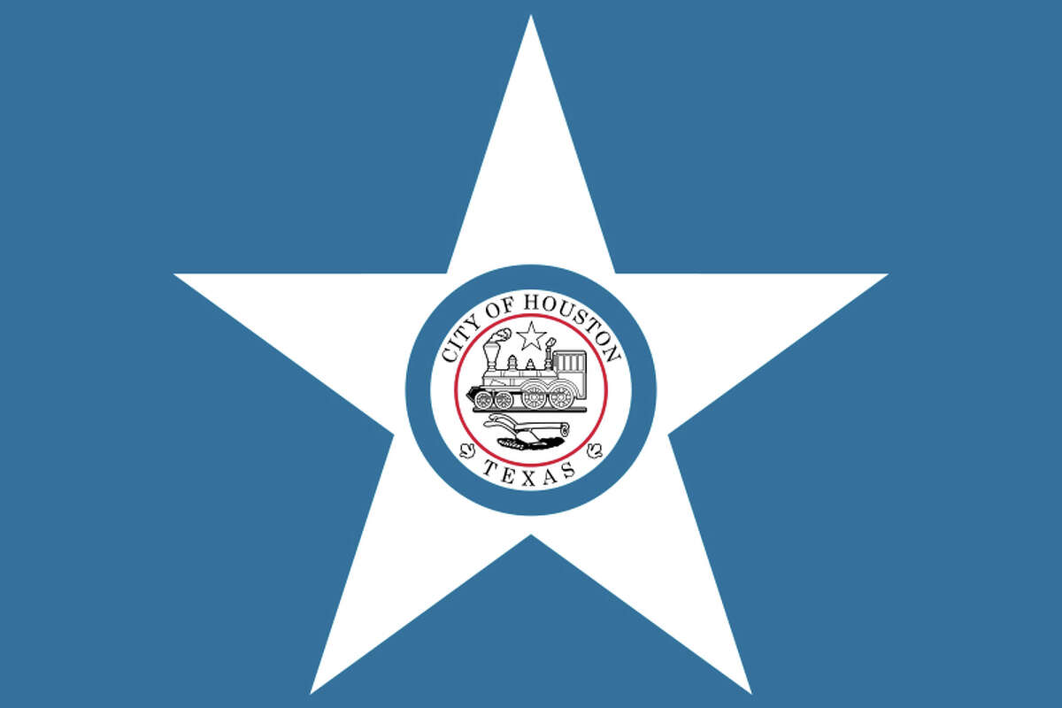 The flag designs of Texas cities Houston's city flag was born in 1915, but the central motif, the city seal that bears a 4-4-0 locomotive and a plough, was created in 1840. Funnily enough, a railroad had not yet been constructed in Houston by 1840. It was likely the founders' intent to showcase that symbol on their seal to attract a railroad developer. The city wouldn't get one for more than a decade. Read more: Houston Chronicle