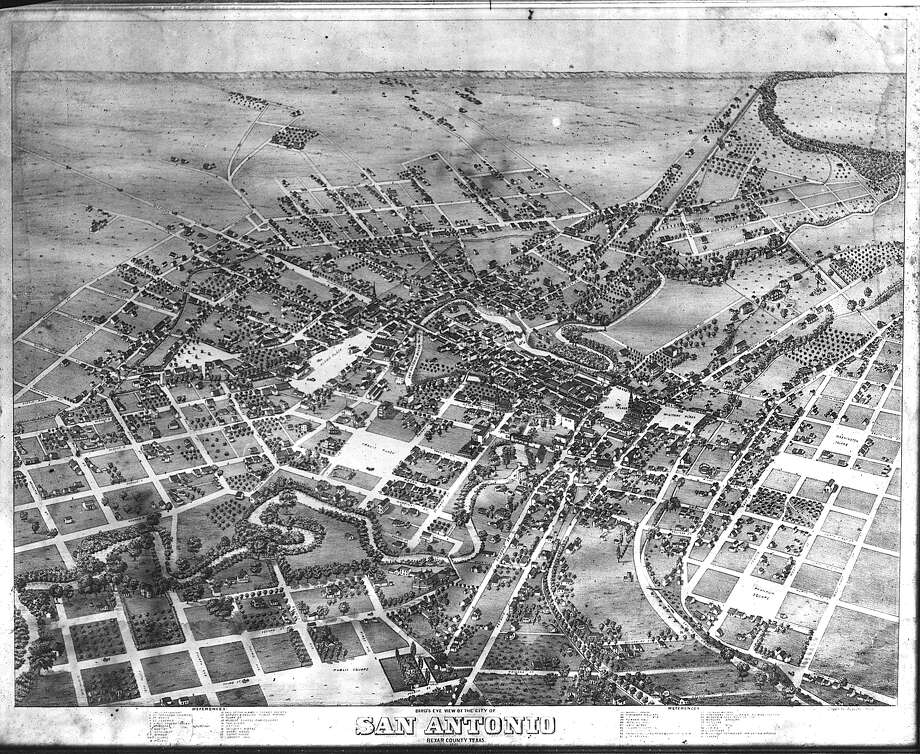A bird's eye view of the city of San Antonio, circa 1870. Photo: Ernst Raba Collection / San Antonio Conservation Society / EXPRESS-NEWS FILE PHOTO