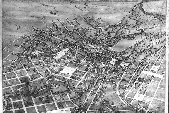 A bird's eye view of the city of San Antonio, circa 1870.