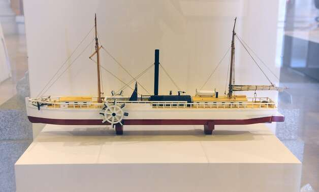 "A model of the Clermont, the steamship that traveled between Albany and New York City built by Robert Fulton is on display at the new exhibit titled ""New York's Bold Ideas: Inventions that Changed the Human Condition"" on the second floor of the Capitol on Tuesday, Jan. 20, 2015 in Albany, N.Y. This steamship paved the way for greater waterway commerce. (Lori Van Buren / Times Union) Photo: Albany Times Union"