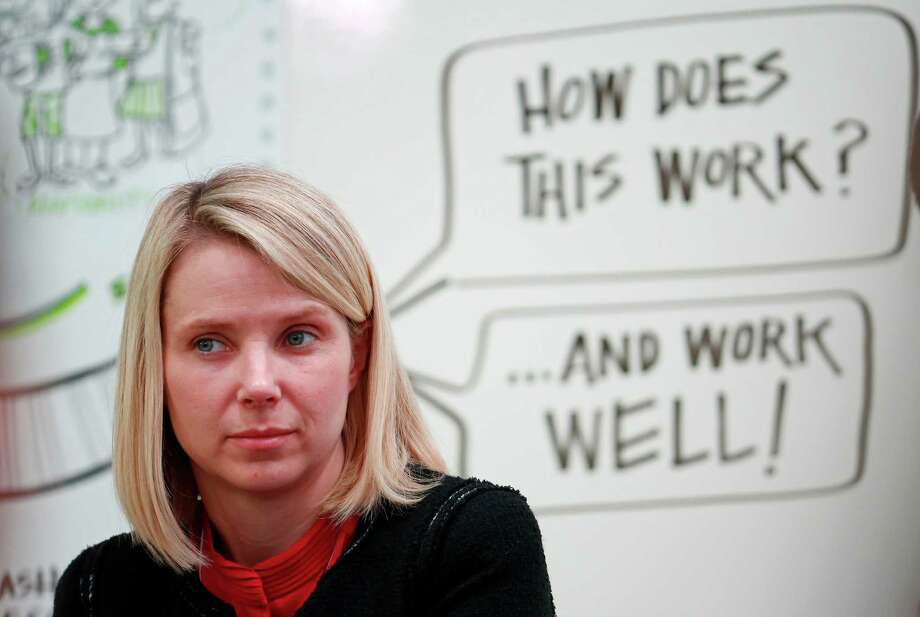 Yahoo CEO Marissa Mayer, seen here at last year's World Economic Forum, faces a challenge in figuring out what to do with the company's holdings in Chinese e-commerce giant Alibaba. Photo: Jason Alden / Bloomberg / ONLINE_YES