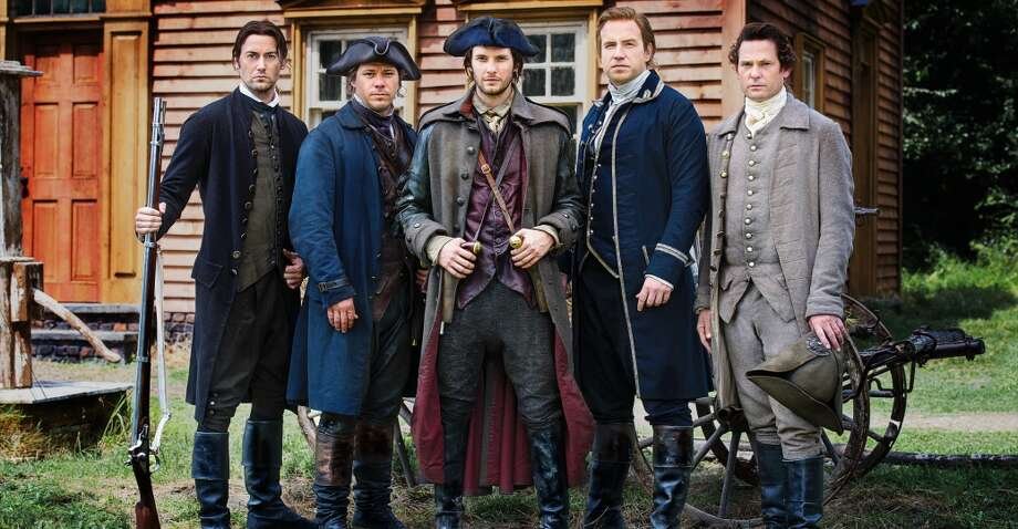"""History Channel From left to right: Ryan Eggold as Dr. Joseph Warren, Michael Raymond-James as Paul Revere, Ben Barnes as Sam Adams, Rafe Spall as John Hancock, and Henry Thomas as John Adams in the History Channel miniseries """"Sons of Liberty."""""""