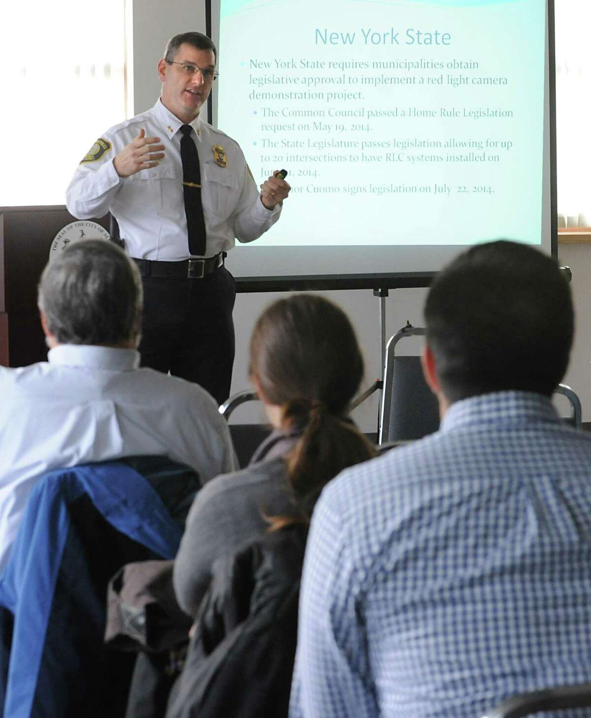 Deputy Chief Brendan Cox speaks during an Albany Police Department forum on red-light cameras at the Albany Community Development Agency on Tuesday, Dec. 2, 2014 in Albany, N.Y. (Lori Van Buren / Times Union)