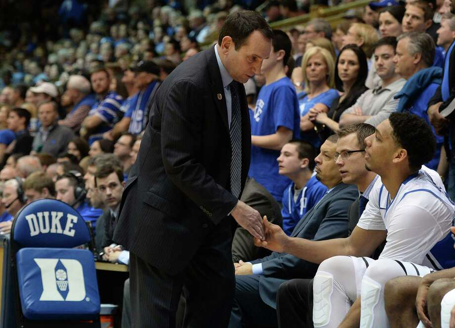 Duke coach Mike Krzyzewski is nearing 1,000 career victories, thanks to his ability to recruit budding stars like Jahlil Okafor. Photo: Chuck Liddy / McClatchy-Tribune News Service / Raleigh News & Observer