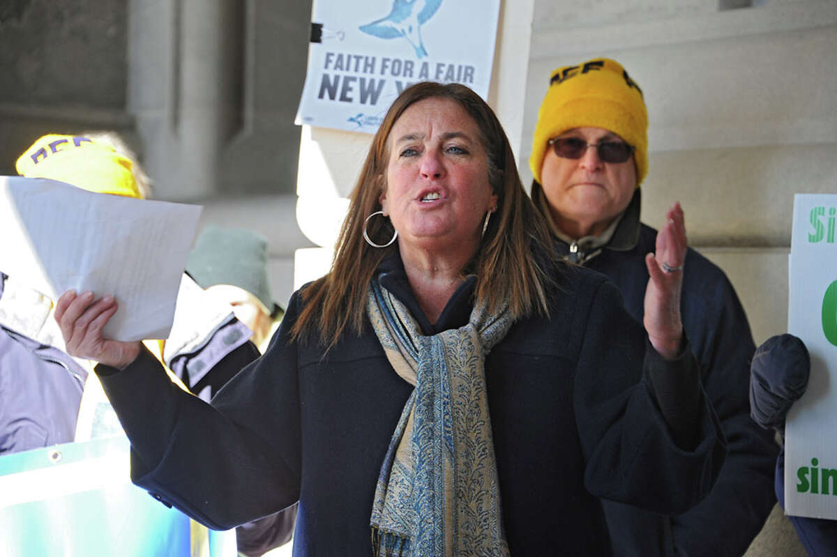 New Paltz Town Supervisor Susan Zimet expresses her concerns about education and the poor at the 25th Annual People's State of the State rally at the Capitol on Tuesday, Jan. 20, 2015 in Albany, N.Y. (Lori Van Buren / Times Union)