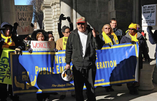 Albany County Legislator Douglas Bullock expresses his concerns at the 25th Annual People's State of the State rally at the Capitol on Tuesday, Jan. 20, 2015 in Albany, N.Y.  (Lori Van Buren / Times Union) Photo: Lori Van Buren, Albany Times Union / 00030268A