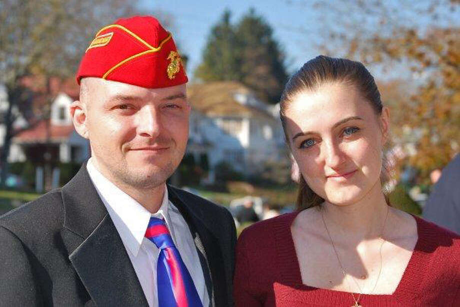 Justin Eldridge and his wife, Joanna Eldridge. Justin, a Marine from Waterford, Conn. suffered from post-traumatic stress disorder and traumatic brain injury after a deployment to Afghanistan in 2004-05. Despite stints in VA hospitals and an array of medications, he killed himself in his home on Oct. 28, 2013. He was 31. Photo: Contributed Photo, Courtesy Of Eldridge Family / Connecticut Post Contributed