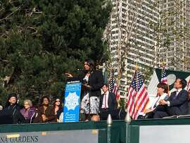 San Francisco Board of Supervisors President London Breed delivers tough-love message to crowd at the King Day observance at Yerba Buena Gardens.