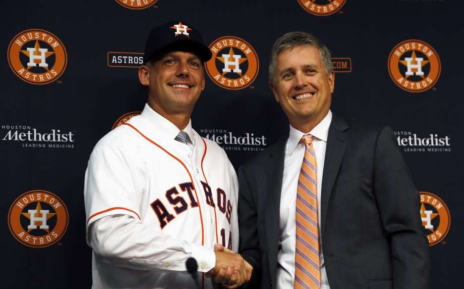 When new Astros manager A.J. Hinch, left, fills out his opening day lineup it will look much different than his predecessor's from a season before, thanks to all the wheeling and dealing by general manager Jeff Luhnow this offseason.Check out all the new faces for the 2015 Astros: Photo: James Nielsen, Houston Chronicle
