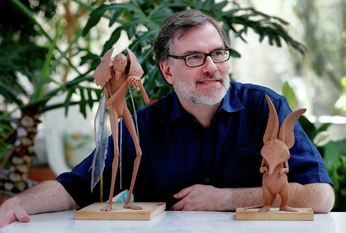 """Gary Rydstrom hangs out with creatures from """"Strange Magic,"""" the Bog King (left) and the Imp, at Skywalker Ranch."""