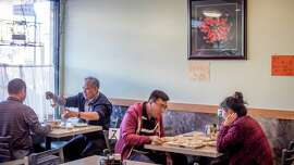 Diners have lunch at China North Dumpling in San Francisco.