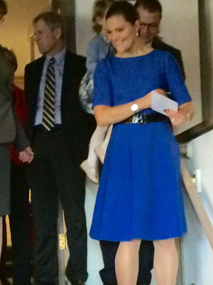 Crown Princess Victoria (behind her to left is Swedish Ambassador Bjorn Lyvall)