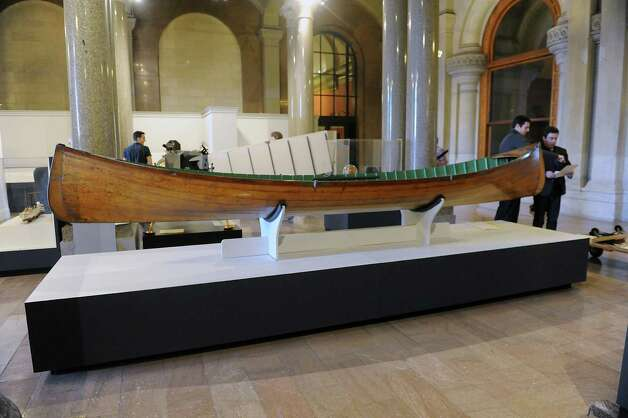 "An Adirondack guide boat is on display at the new exhibit titled ""New York's Bold Ideas: Inventions that Changed the Human Condition"" on the second floor of the Capitol on Tuesday, Jan. 20, 2015 in Albany, N.Y. (Lori Van Buren / Times Union) Photo: Lori Van Buren"