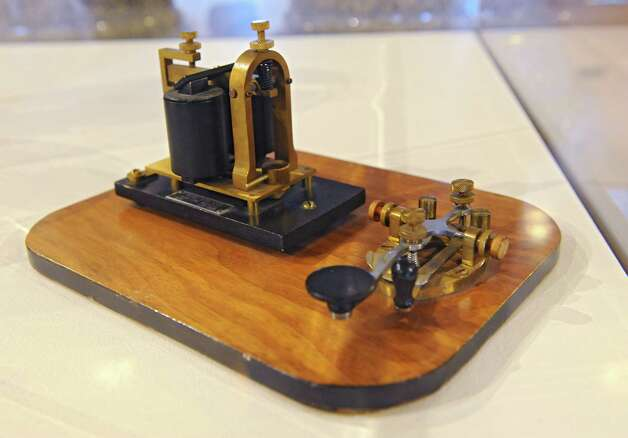 "1930 Western Union telegraph key is on display at the new exhibit titled ""New York's Bold Ideas: Inventions that Changed the Human Condition"" on the second floor of the Capitol on Tuesday, Jan. 20, 2015 in Albany, N.Y. (Lori Van Buren / Times Union) Photo: Lori Van Buren"