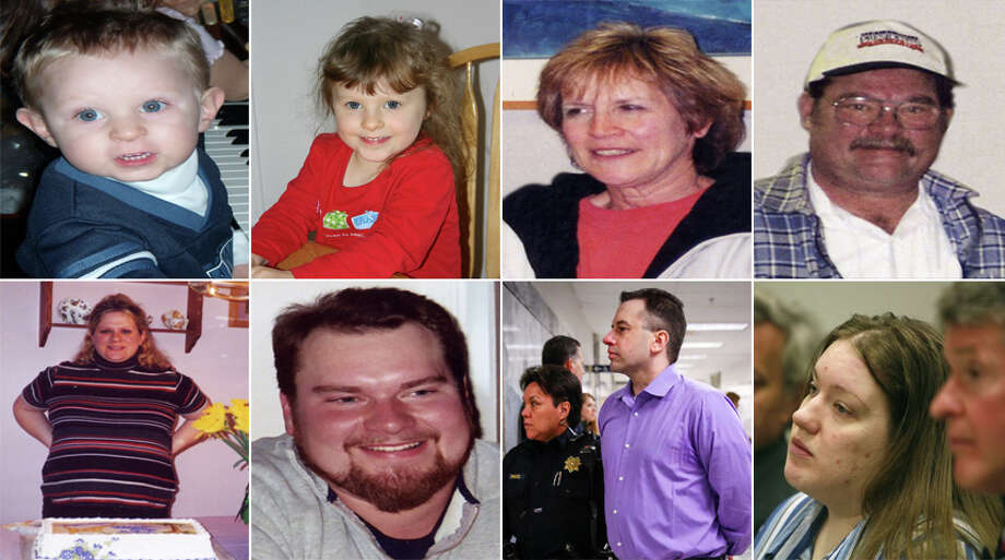 Top row: Nathan Anderson, 3; Olivia Anderson, 5 1/2; Judy Anderson; Wayne Anderson. Bottom row: Erica Mantel Anderson; Scott Anderson. Also pictured are Joseph McEnroe and Michele Anderson, first and second from the right on the bottom row, killed the rest on Christmas Eve 2007. Photo: Photos Provided By The King County Prosecutor's Office