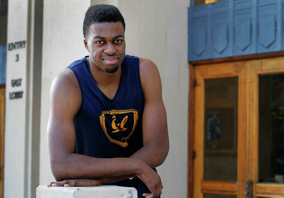 Cal Bears center Kingsley Okoroh is seen in front of Haas Pavilion before a team practice in Berkeley, Calif. on Tuesday, Jan. 20, 2015. The 7-foot-1 freshman from Derby, England is among the top rated prospects from Europe. Photo: Paul Chinn / The Chronicle / ONLINE_YES