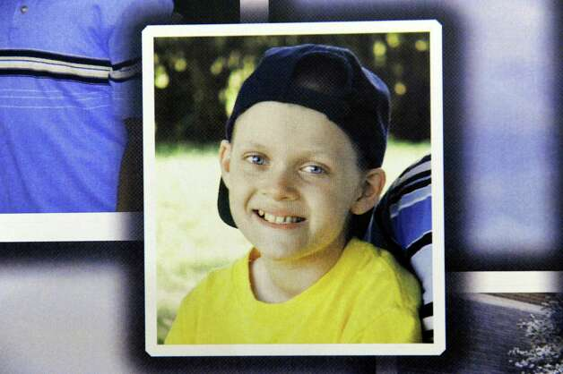 Tyler DeMarco's picture is on display when his family presents a monetary gift to the Bernard & Millie Duker Children's Hospital through the Tyler DeMarco Foundation on Tuesday, Jan. 20, 2015, at Albany Medical Center in Albany, N.Y. Tyler died in 2010 at age 12 after a four-year battle with cancer. (Cindy Schultz / Times Union) Photo: Cindy Schultz / 00030258A