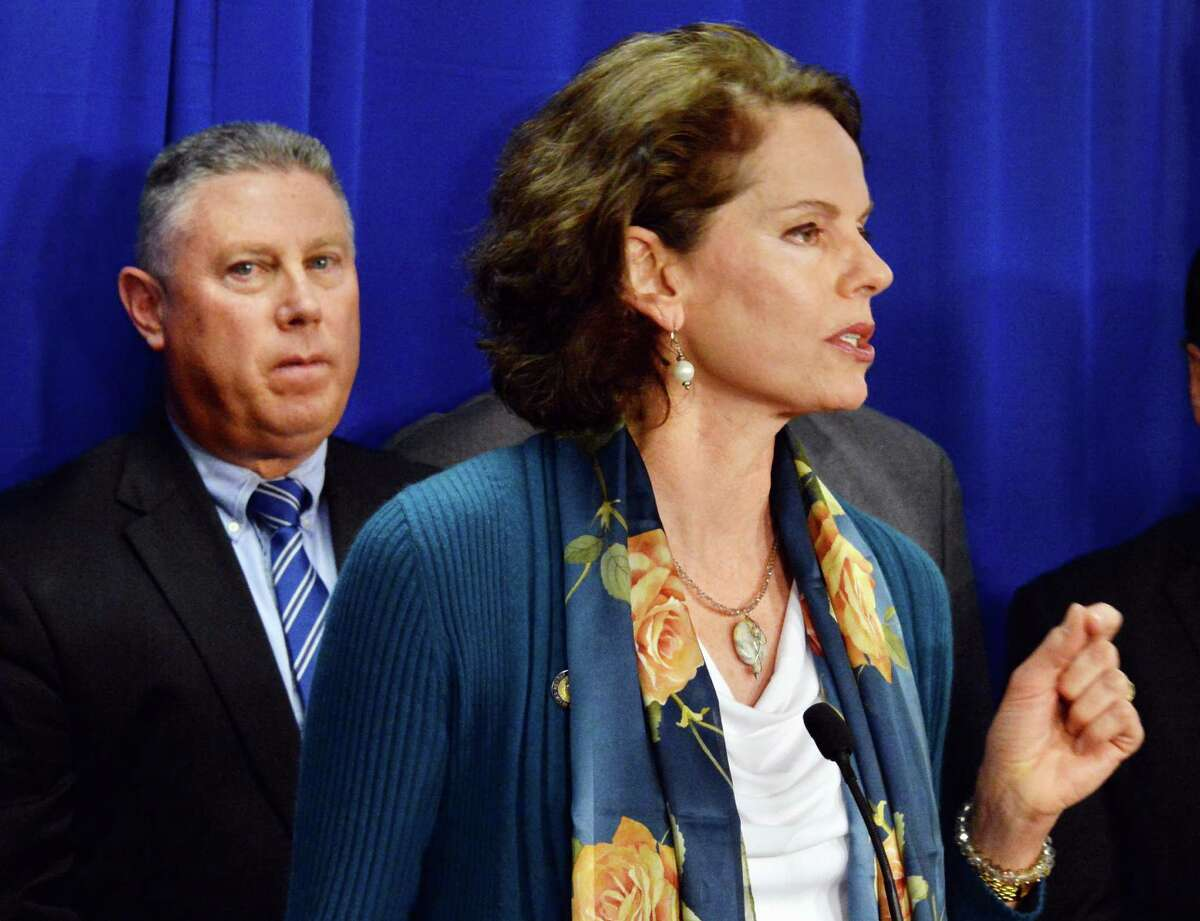 NYS Assemblyman John McDonald, left, and Assemblymember Patricia Fahy during a news conference at the Legislative Office Building to release a letter from lawmakers to Gov. Cuomo with specific budget recommendation Tuesday Jan. 20, 2015, in Albany, NY. (John Carl D'Annibale / Times Union)