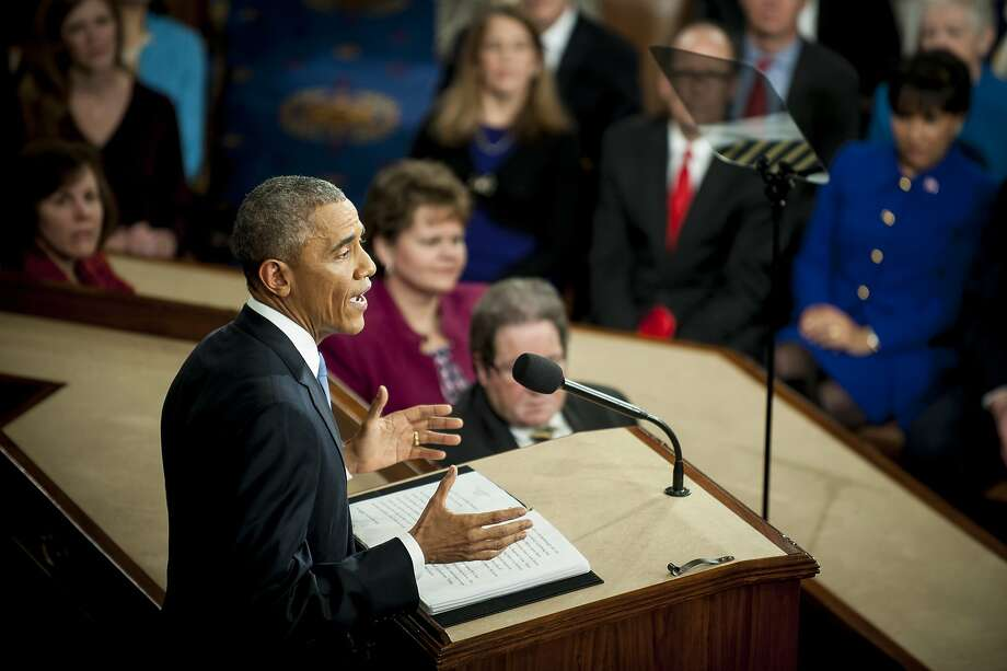 U.S. President Barack Obama delivers the State of the Union address to a joint session of Congress at the Capitol in Washington, U.S., on Tuesday, Jan. 20, 2015. Obama declared the U.S. economy healed and said the nation now must begin work to close the gap between the well-off and the wanting. Photo: Pete Marovich, Bloomberg