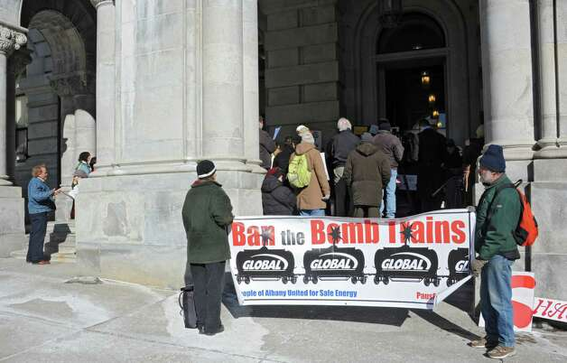 People gather for the 25th Annual People's State of the State rally at the Capitol on Tuesday, Jan. 20, 2015 in Albany, N.Y.  (Lori Van Buren / Times Union) Photo: Lori Van Buren / 00030268A