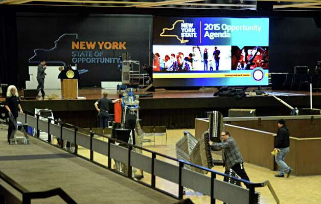 Crews ready the Convention Center for Gov. Cuomo's upcoming State of the State speech and budget presentation Tuesday Jan. 20, 2015, at the Empire State Plaza in Albany, NY.  (John Carl D'Annibale / Times Union) Photo: John Carl D'Annibale