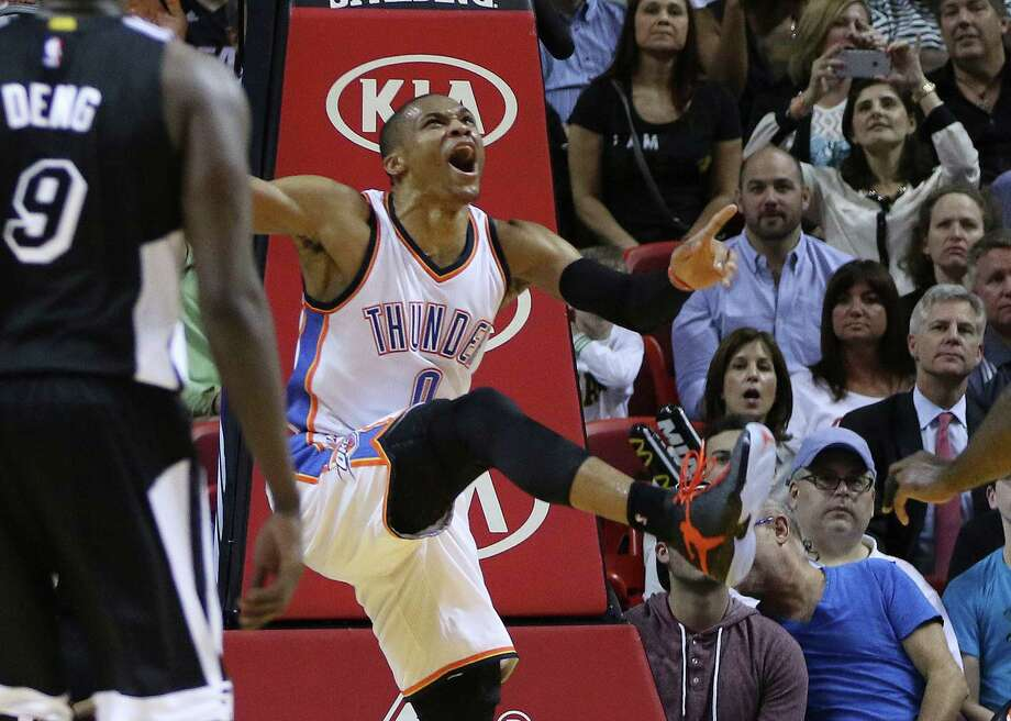 Russell Westbrook is pumped up after scoring against the Heat in the first half on his way to a 19-point performance. Photo: J Pat Carter / Associated Press / AP