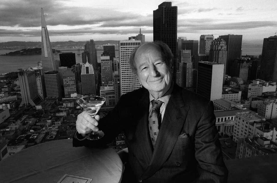 Herb Caen in the Crown Room atop the Fairmont Hotel in 1996. Photo: RUSSELL YIP