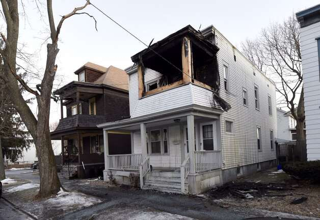 Fire damaged this home at  35 Lincoln Ave., Albany early Wednesday morning. (Skip Dickstein / Times Union)