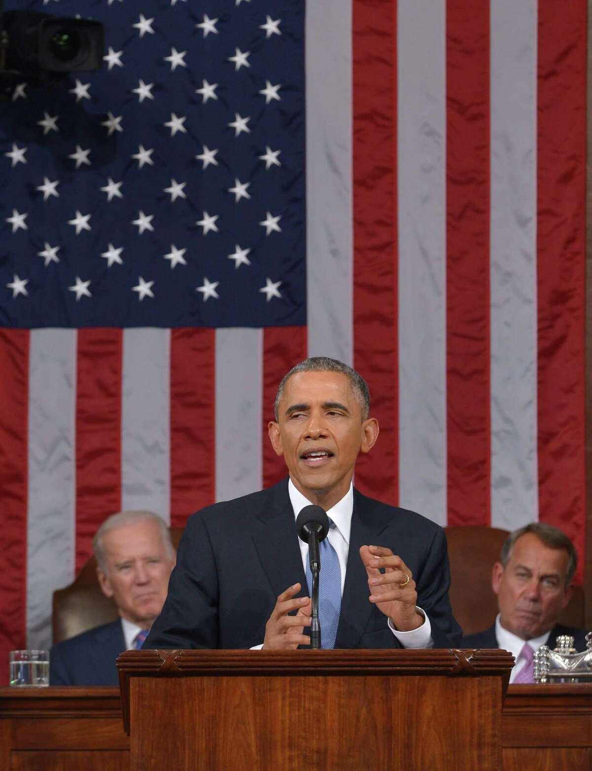 President Barack Obama delivers his State of The Union address, Tuesday, Jan. 20, 2015, on Capitol Hill in Washington. (AP Photo/Mandel Ngan, Pool)